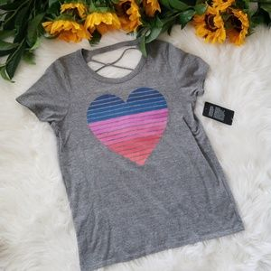 876cd8fcd Chaser Tops | Striped Heart Graphic Tee | Poshmark